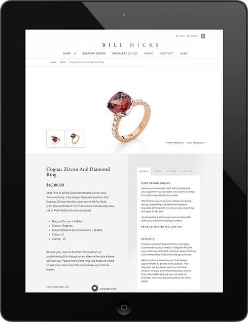 Bill Hicks Jewellery iPad